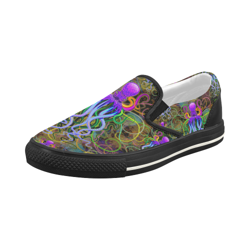 Octopus Psychedelic Luminescence Women's Slip-on Canvas Shoes (Model 019)