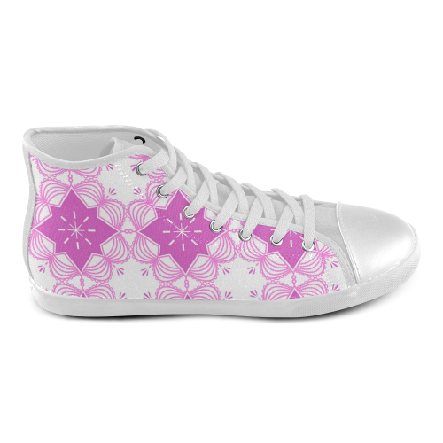 Boho Mandala Fashion Shoes ( Pink and White ) High Top Canvas Kid's Shoes (Model 002)