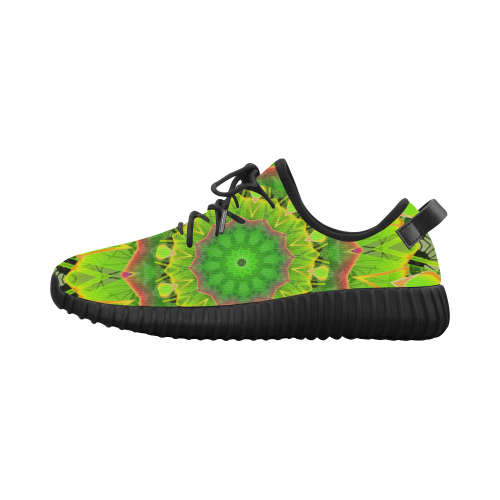 Golden Green Foliage Ferns Abstract Summer Days Grus Women's Breathable Woven Running Shoes (Model 022)