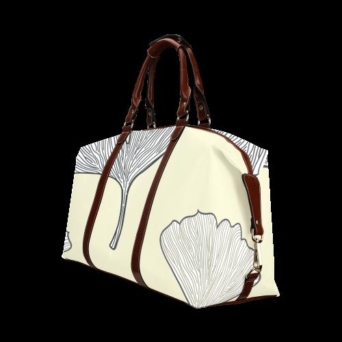 Gingko Inspired Art Black and White Classic Travel Bag (Model 1643)