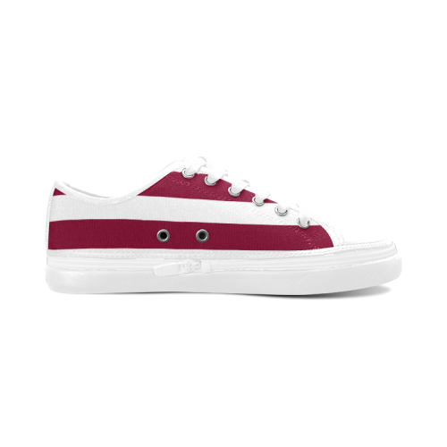 Wine Red Fashion Stripes 50s Inspired Design Collection Women's Canvas Zipper Shoes (Model 001)