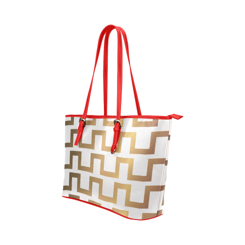 Exclusive Gold artistic Bag with red and gold Leather Tote Bag/Large (Model 1651)