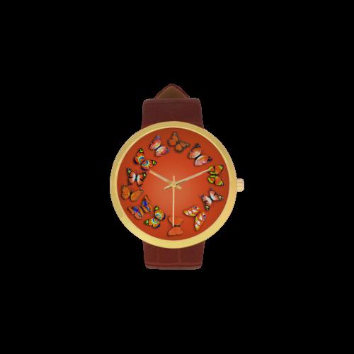Novelty Orange Butterflies Women's Golden Leather Strap Watch(Model 212)