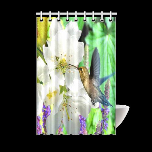 Peach Blossom Hummingbird Shower Curtain 48x72
