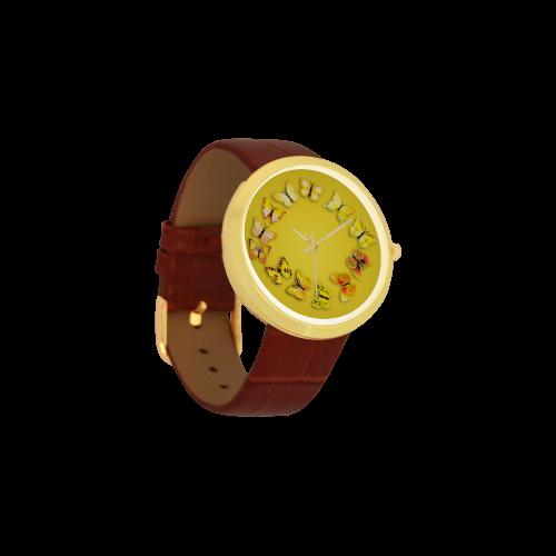 Novelty Yellow Butterflies Women's Golden Leather Strap Watch(Model 212)