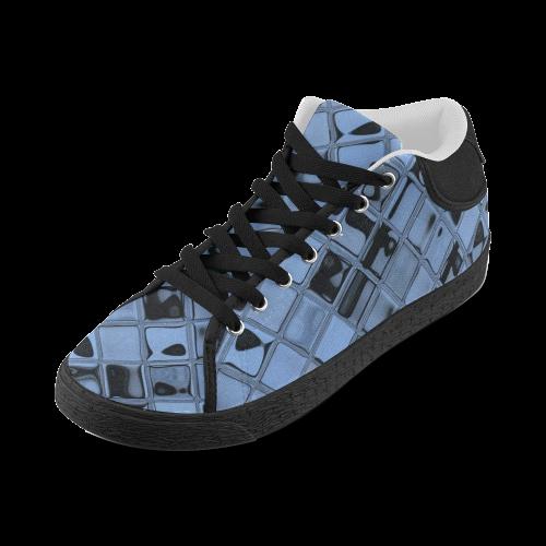 Cornflower Blue Tiles Men's Chukka Canvas Shoes (Model 003)