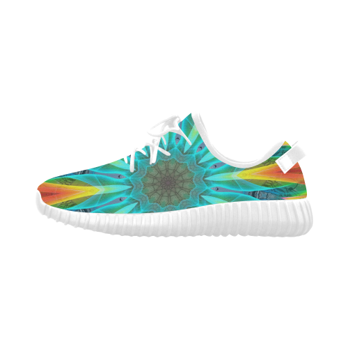 Aqua Gold Joy to the World Flowers, Zen Rainbow Grus Women's Breathable Woven Running Shoes (Model 022)