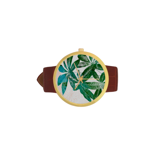 Pachira Women's Golden Leather Strap Watch(Model 212)