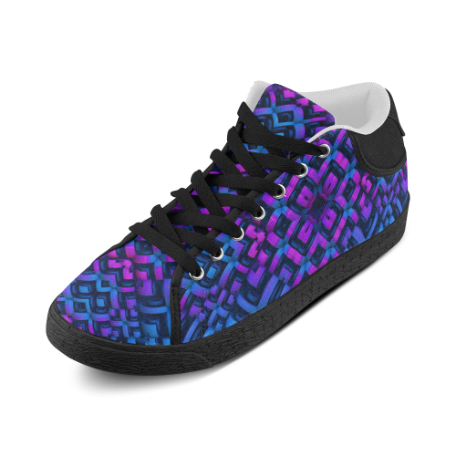 3-D Pattern in Neon Blue/Pink/Black Women's Chukka Canvas Shoes (Model 003)