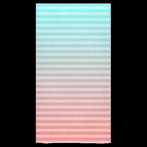 "Aqua/Peach Ombre Stripe Bath Towel 30""x56"""