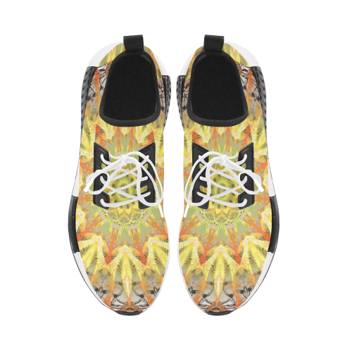 Golden Feathers Orange Flames Abstract Lattice Men's Draco Running Shoes (Model 025)