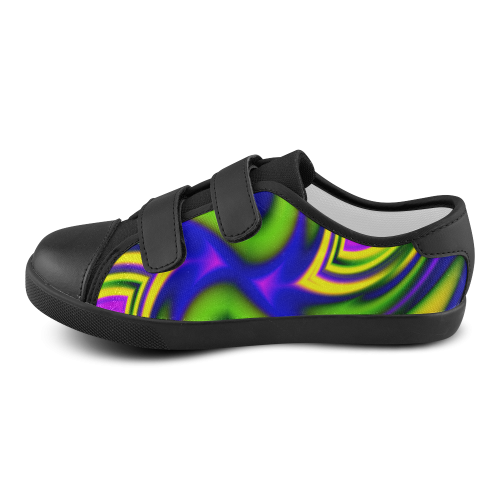 Colorful Spiral Fractal Velcro Canvas Kid's Shoes (Model 008)