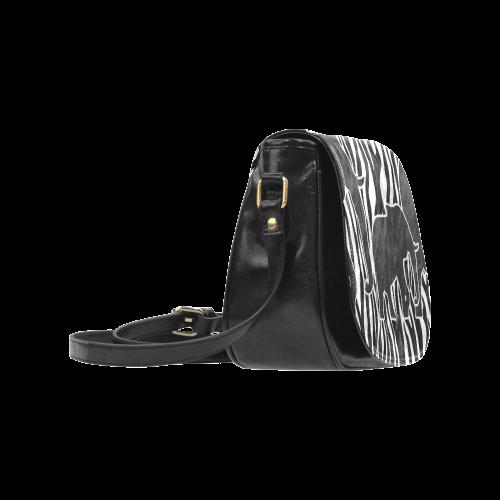 ELEPHANTS to ZEBRA stripes black & white Classic Saddle Bag/Large (Model 1648)
