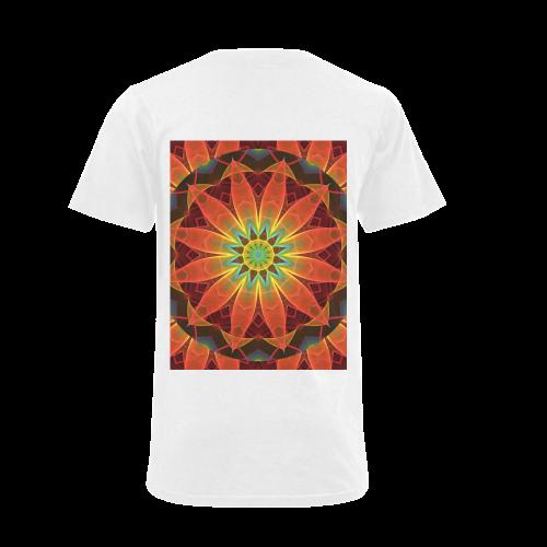 Radiance and Light, Orange Brown Awakening Men's V-Neck T-shirt (USA Size) (Model T10)