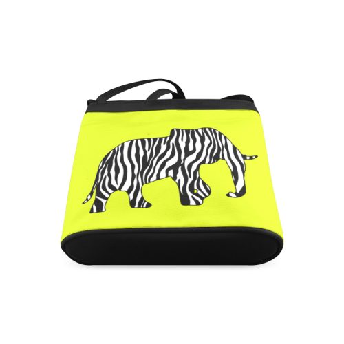 ZEBRAPHANT Elephant with Zebra Stripes black white Crossbody Bags (Model 1613)