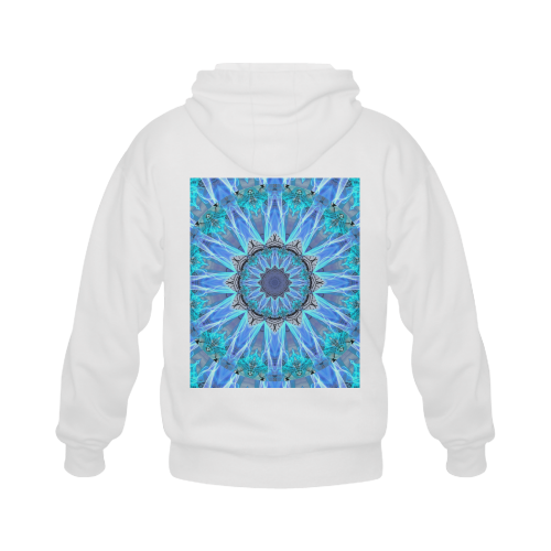 Sapphire Ice Flame, Cyan Blue Crystal Wheel Gildan Full Zip Hooded Sweatshirt (Model H02)