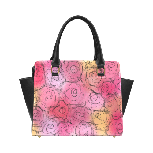 Red Pastel Roses. Inspired by the Magic Island of Gotland. Classic Shoulder Handbag (Model 1653)