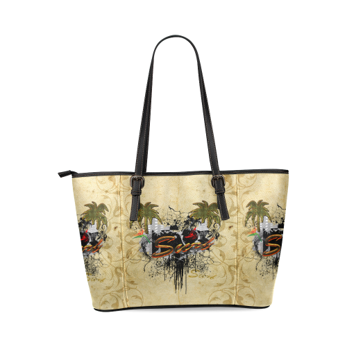 Surfing, surfdesign with surfboard and palm Leather Tote Bag/Large (Model 1640)