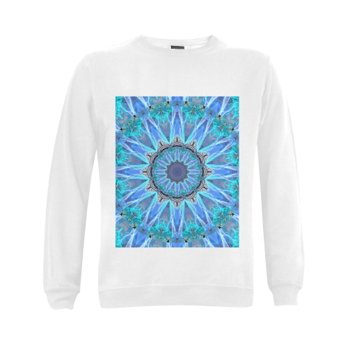 Sapphire Ice Flame, Cyan Blue Crystal Wheel Gildan Crewneck Sweatshirt(NEW) (Model H01)