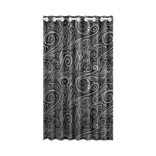 """A elegant floral damasks in  silver and black New Window Curtain 52"""" x 84""""(One Piece)"""