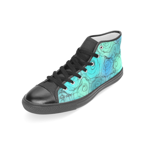 Blue Pastel Roses. Inspired by the Magic Island of Gotland. Women's Classic High Top Canvas Shoes (Model 017)