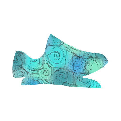 Blue Pastel Roses. Inspired by the Magic Island of Gotland. Grus Women's Breathable Woven Running Shoes (Model 022)