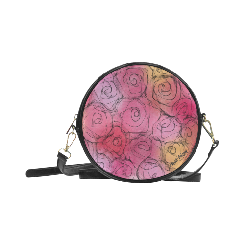 Red Pastel Roses. Inspired by the Magic Island of Gotland. Round Sling Bag (Model 1647)
