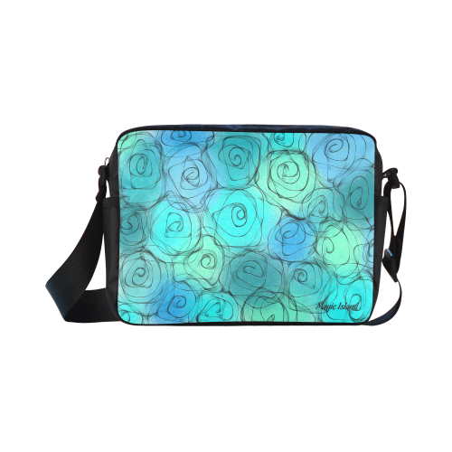 Blue Pastel Roses. Inspired by the Magic Island of Gotland. Classic Cross-body Nylon Bags (Model 1632)