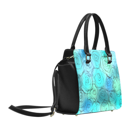 Blue Pastel Roses. Inspired by the Magic Island of Gotland. Classic Shoulder Handbag (Model 1653)