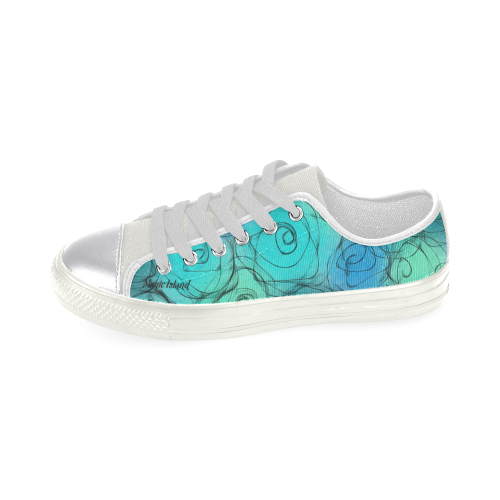 Blue Pastel Roses. Inspired by the Magic Island of Gotland. Women's Classic Canvas Shoes (Model 018)