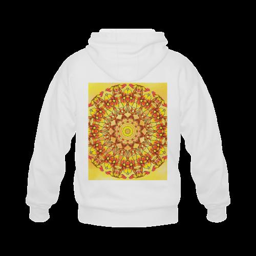 Orange Yellow Sunflower Mandala Red Zendoodle Gildan Full Zip Hooded Sweatshirt (Model H02)