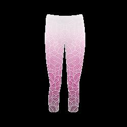 7ad2b5666b1e7e Ombre pink and white swirls doodles Capri Legging (Model L02)