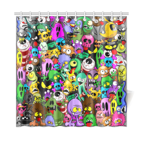 "Monsters Doodles Characters Saga Shower Curtain 72""x72"""