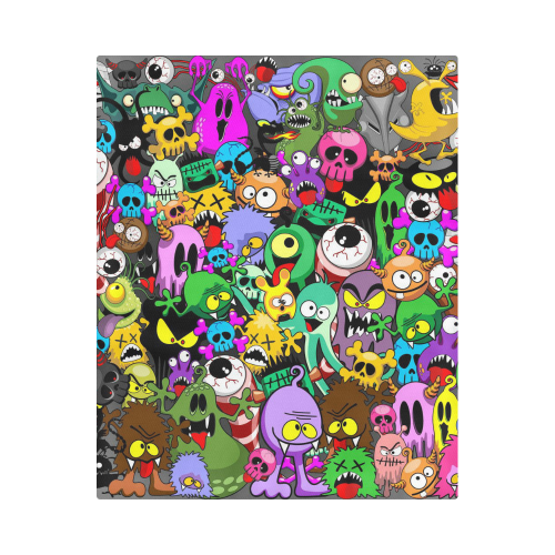 "Monsters Doodles Characters Saga Duvet Cover 86""x70"" ( All-over-print)"