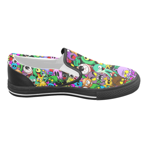 Monsters Doodles Characters Saga Women's Unusual Slip-on Canvas Shoes (Model 019)