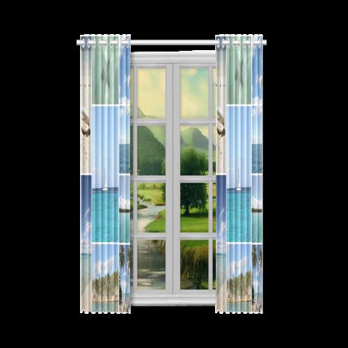 "Isla Saona Caribbean Photo Collage New Window Curtain 52"" x 63""(One Piece)"