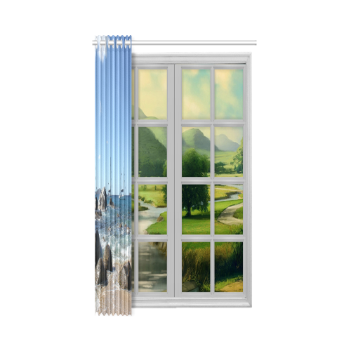 "Sailing Boats at Virgin Gorda BVI New Window Curtain 52"" x 63""(One Piece)"