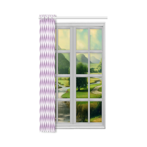 "Purple Lilac and white zigzag chevron New Window Curtain 52"" x 63""(One Piece)"