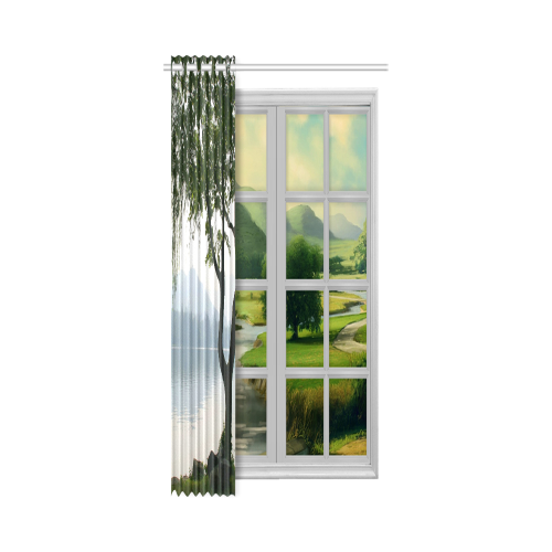 "Weeping Willow Mountian View New Window Curtain 50"" x 108""(One Piece)"