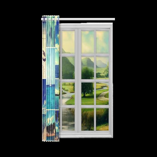 "Starry Starry Caribbean Night New Window Curtain 52"" x 63""(One Piece)"