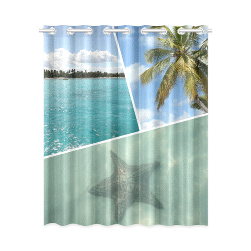 """Caribbean Collage New Window Curtain 52"""" x 63""""(One Piece)"""