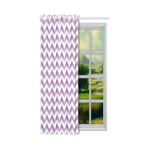"Purple Lilac and white zigzag chevron New Window Curtain 52"" x 72""(One Piece)"