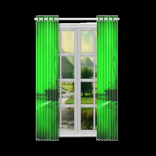 "Ghostly Green Santa Monica Pier New Window Curtain 52"" x 63""(One Piece)"