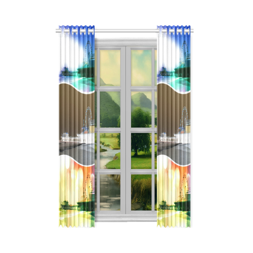 "Santa Monica Pier Tricolor New Window Curtain 52"" x 63""(One Piece)"
