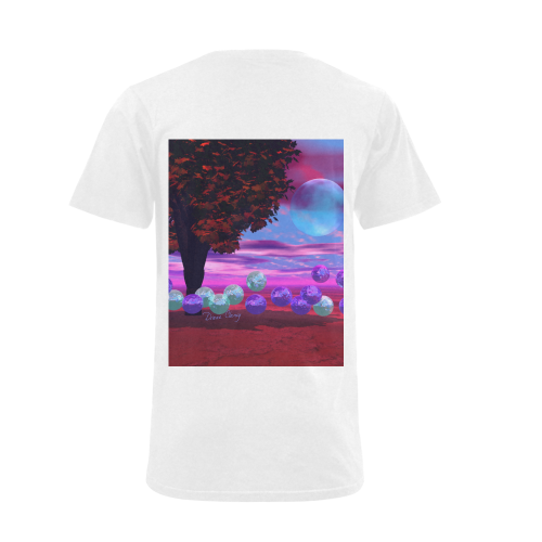 Bubble Garden, Abstract Rose  Azure Wisdom Men's V-Neck T-shirt (USA Size) (Model T10)