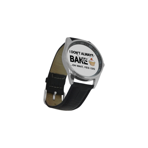 I don't always bake oh wait yes I do Men's Casual Leather Strap Watch(Model 211)