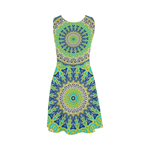 POWER MANDALA Blue Green Yellow Atalanta Sundress (Model D04)