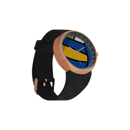 Blue and Yellow Design Men's Rose Gold Resin Strap Watch(Model 308)