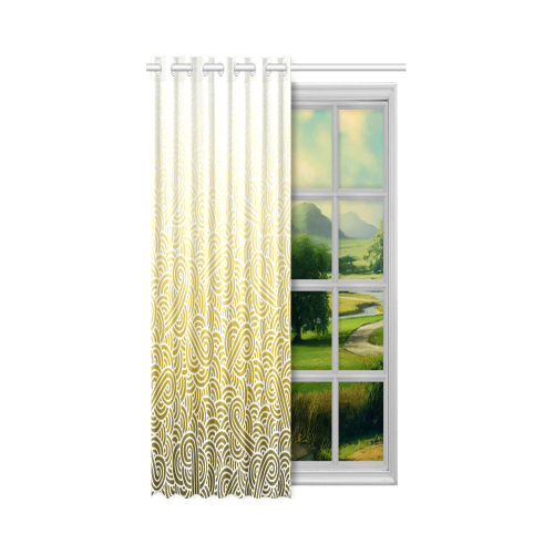 """Ombre yellow and white swirls doodles New Window Curtain 52"""" x 72""""(One Piece)"""