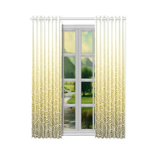 """Ombre yellow and white swirls doodles New Window Curtain 50"""" x 84""""(One Piece)"""